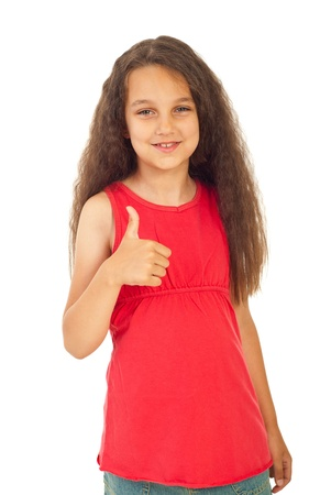 Beautiful girl in pink blank t-shirt giving thumb up isolated on white background photo