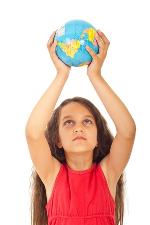 Girl with long hair holding world globe over head and looking up isolated on white background Stock Photo - 9886148