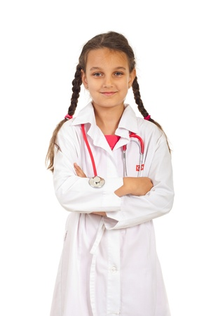 pigtail: Future doctor girl with pigtails  standing with arms folded isolated on white background