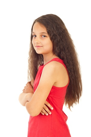 Smiling girl standing with arms folded in semi profile isolated on white background Stock Photo - 9886157