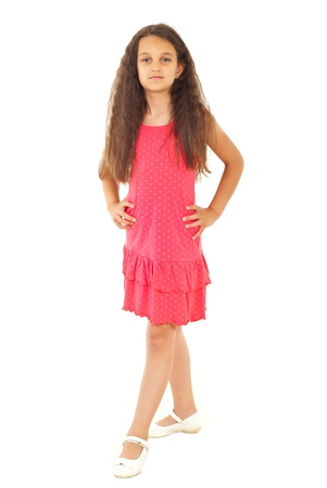 preteen girls: Beautiful fashion model girl with long hair posing isolated on hwite background