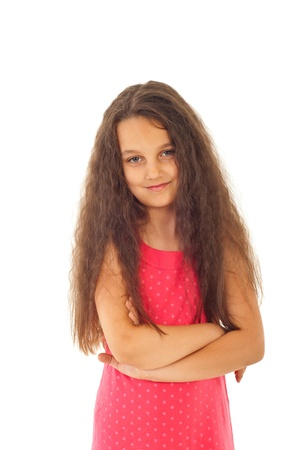 Cute preteen girl with long curly hair isolated on white background Stock Photo - 9886149
