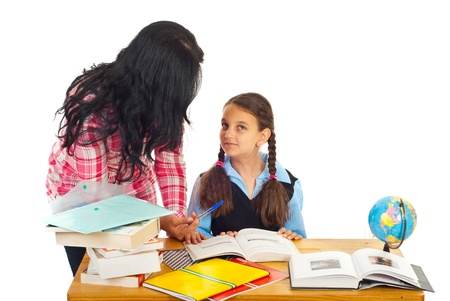 Mother helping daughter with homework and asking her questions isolated on white background Stock Photo - 9886147