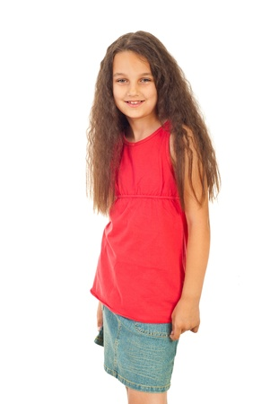 Smiling girl in blank red t-shirt and denim skirt isolated on white background Stock Photo - 9886194