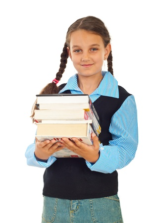 pigtail: Schoolgirl carrying heavy books isolated on white background