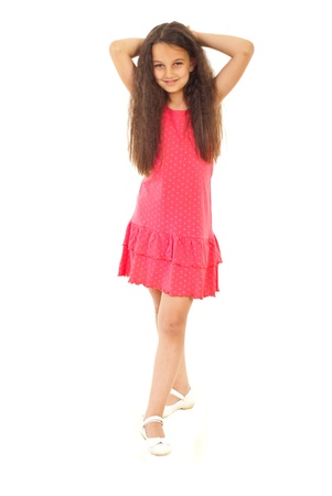 Beauty fashionable girl in pink dress isolated on white background photo