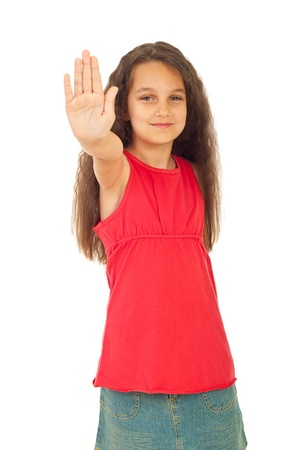 Smiling  girl showing stop hand isolated on white background Stock Photo - 9886089