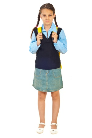 pigtails: Full length of beauty schoolgirl in first day of school isolated on white background