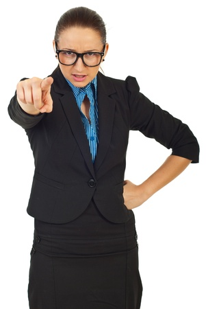 accuse: Furious manager woman with eyeglasses accuse you and pointing isolated on white background Stock Photo