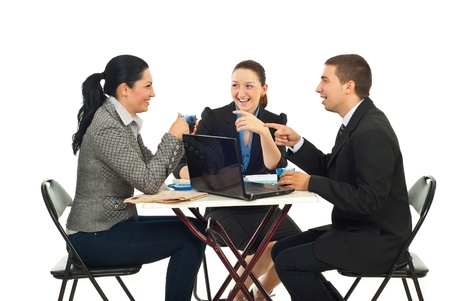 Three business people in a coffee break having funny conversation isolate don white background photo