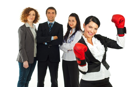 Happy leader woman raising hands in boxing gloves and her teamwork photo
