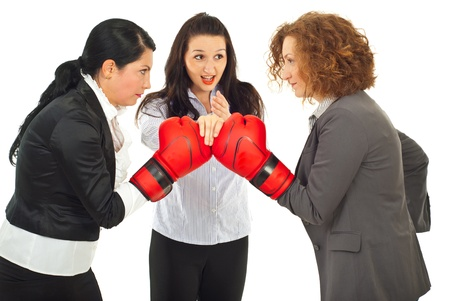 arbitrator: Referee executive woman give start to business women competition with boxing gloves isolated on white background