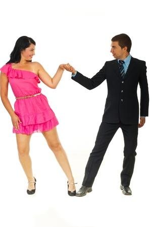 Elegant dancers couple isolated on white background photo