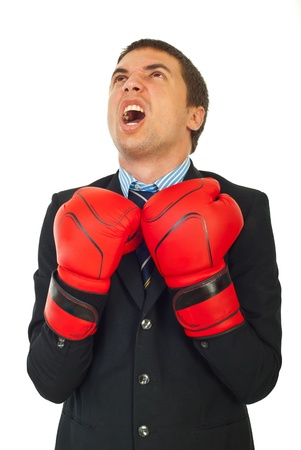Upset business man shouting and looking up with hands in boxing gloves isolated on white background photo