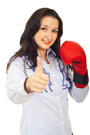 Successful competitor business woman giving thumb up isolated on white background photo