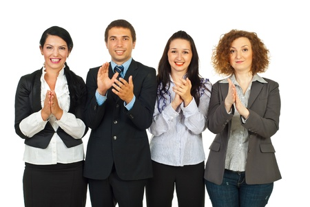 Clapping happy business people standing in a row isolated on white background photo