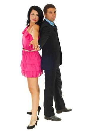 Beautiful elegant couple ready for dance isolated on white background photo