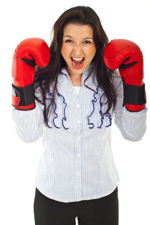 Shouting nervous business woman with boxing gloves isolated on white background Stock Photo - 10107763