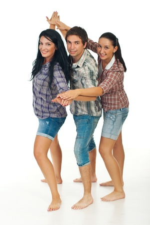 Happy three friends standing together and having fun  Stock Photo - 10611411