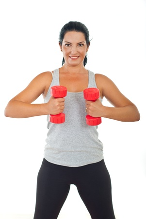 Group of three people doing fitness and lifting their arms Stock Photo - 10611593