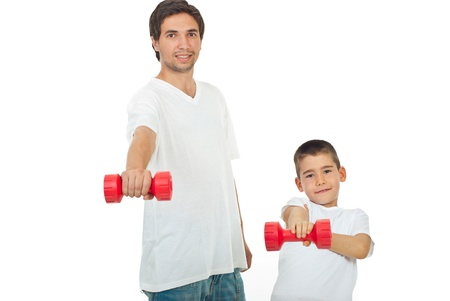 Father and son exercising with barbell and wearing blank white t-shirt together isolated on white background photo