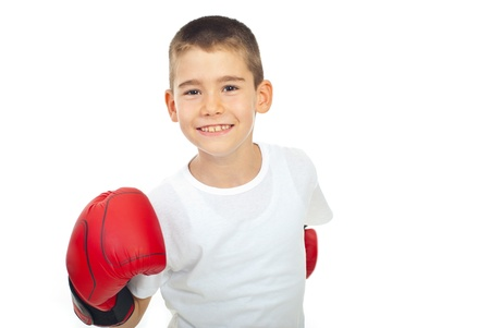 boy boxing: Happy champion by with boxing glove isolated on white background