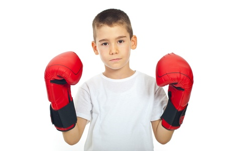 boy boxing: Sad boy with boxing gloves isolated on white background