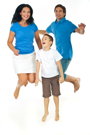 Cheerful family jumping together isolated on white background photo