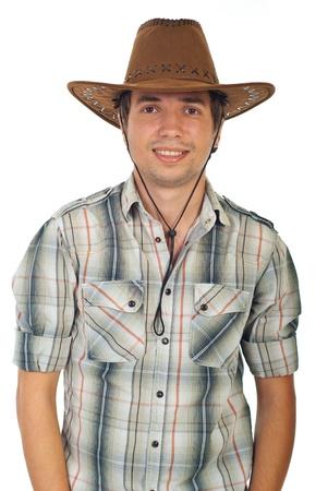 hombre con sombrero: Feliz joven vaquero con sombrero aislada sobre fondo blanco Foto de archivo