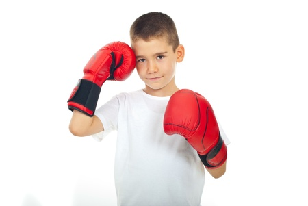 red gloves: Child boy with soft smile with red boxing gloves isolated on white background Stock Photo