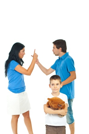 one parent: Boy holding teddy bear and suffering about his parents conflict isolated on white background