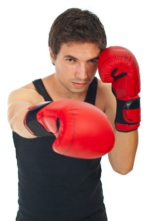 red gloves: Serious boxer man with boxing gloves training isolated on white background Stock Photo