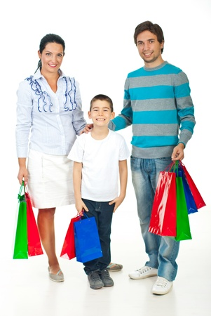 Full length of happy family with colorful shopping bags  photo