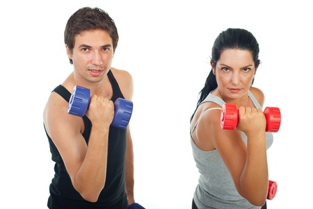 men exercising: Strength couple lifting barbell in fornt of camera isolated on white background