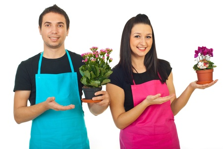 horticulturist: Florists workers team holding flowers in pots and showing with their hands isolated on white background Stock Photo