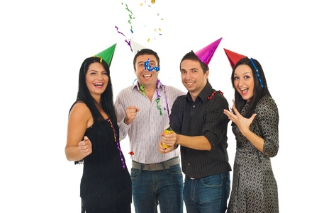 Happy friends having fun and opening tube with streamers and confetti  at party  over white background
