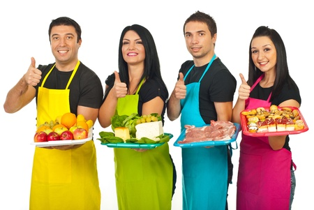 thumbs up group: Successful market workers holding fresh products and giving thumbs up in a line isolated on white background