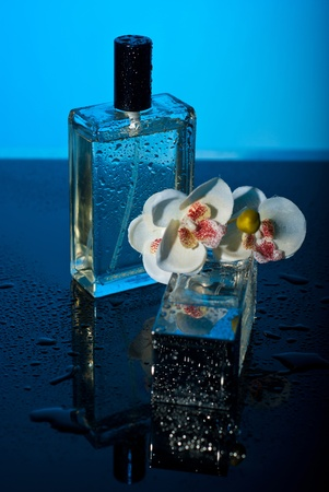 Two bottles perfumes with water drops and orchid flower