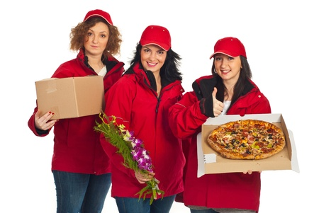 Successful group of delivery people holding different things isolated on white background photo