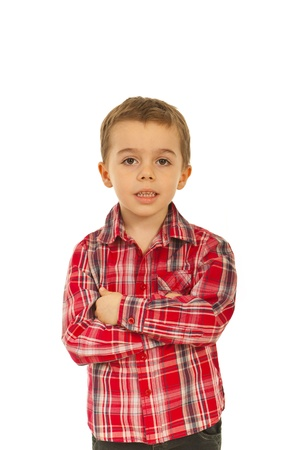five years old: Smiling kid boy five years old standing with hands crossed isolated on white background