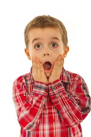 is astonished: Scared litle kid boy holding hands on face and screaming isolated on white background Stock Photo