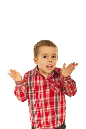 Confused  little boy with hands in motion isolated on white background Stock Photo - 12595133