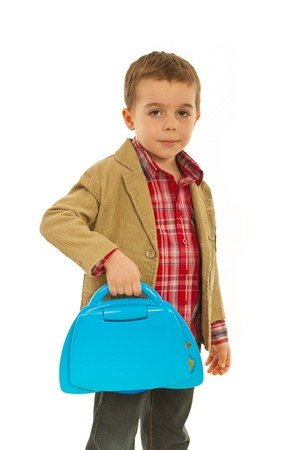 Business small child boy holding laptop toy isolated on white background Stock Photo - 12595132