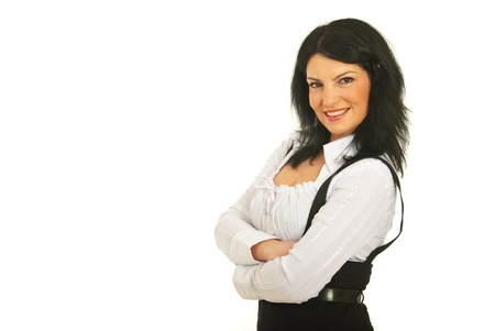 Happy business woman standing in semi profile with arms folded against white background,copy space for text message in left part of image Stock Photo - 12595115