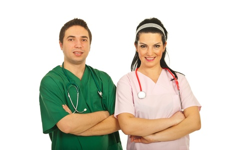 folded hands: Cheerful team of doctor man and nurse woman isolated on white background