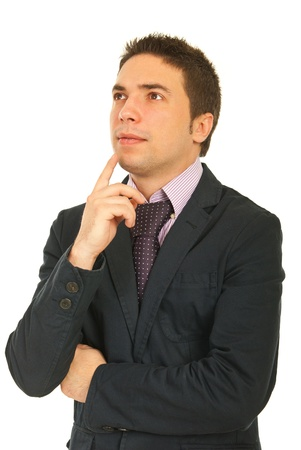 Young business man thinking and looking up isolated on white background Stock Photo - 12595222
