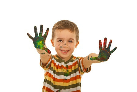 Happ boy showing messy painted palms isolated on white background Stock Photo - 12595289