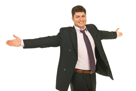 outstretched arms: Successful business man with arms outstretched isolated on white background