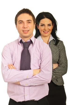 mains crois�es: �quipe de jeunes gens d'affaires debout avec les mains crois�es sur fond blanc