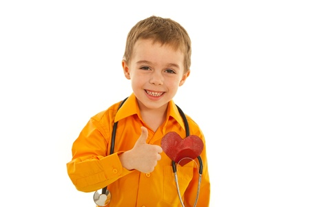 Laughing successful future doctor giving thumbs isolated on white background Stock Photo - 12595354